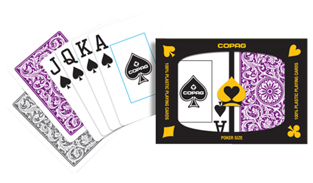 Copag 1546 Purple/Gray Poker Size 2 deck setup - Spinettis Gaming - 1