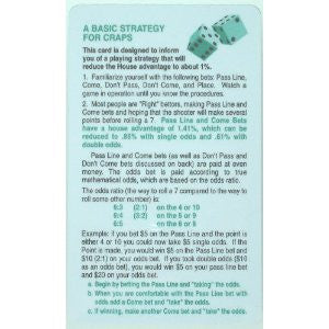 Basic Strategy Card for Craps