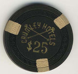 Crumley Hotel $25 (black 1950s) Chip - Spinettis Gaming - 1
