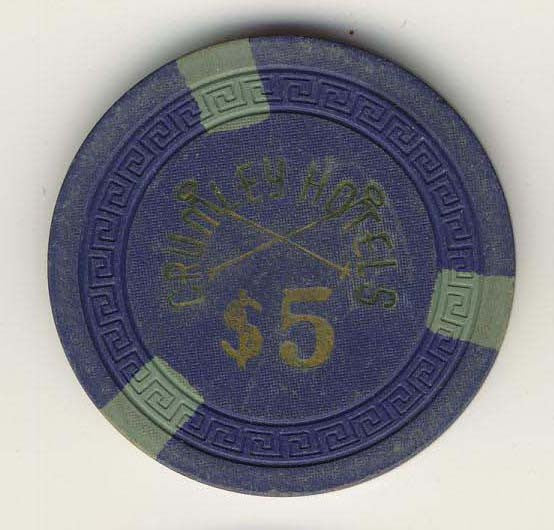 Crumley Hotel $5 (blue 1945) Chip - Spinettis Gaming - 1