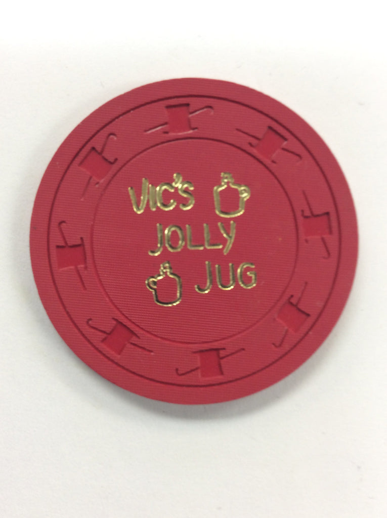 Vic's Jolly Jug 25cent (red) chip