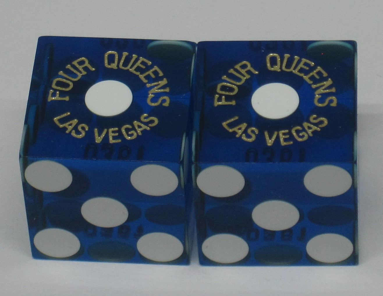 Four Queens Casino Used Matching Numbers Casino Blue Dice, Pair - Spinettis Gaming - 1