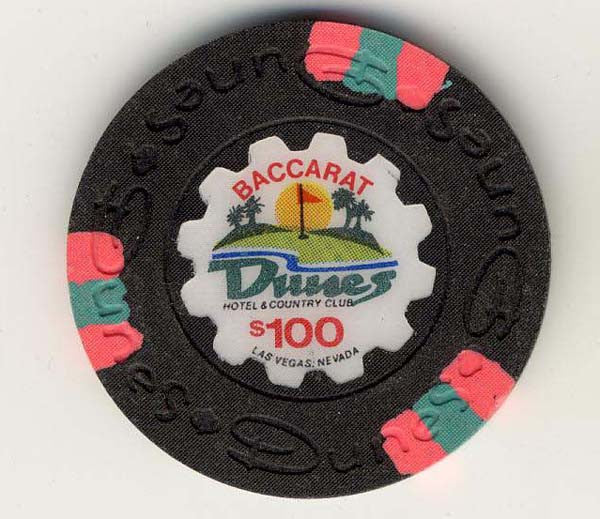 Dunes $100 baccarat (black 1989) Chip - Spinettis Gaming - 1