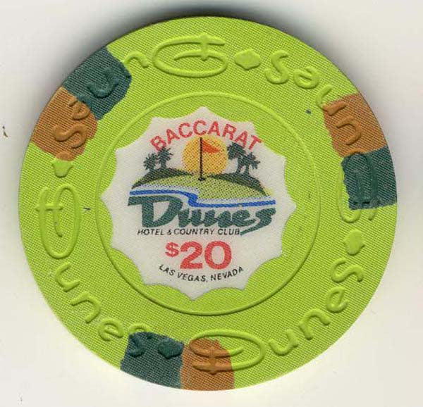 Dunes $20 baccarat (green 1989) Chip