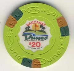 Dunes $20 baccarat (green 1989) Chip - Spinettis Gaming
