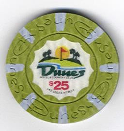Dunes Casino $25 chip 1989 (uncirculated)