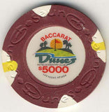 Dunes $5000 baccarat (burgundy 1989) Chip - Spinettis Gaming - 1
