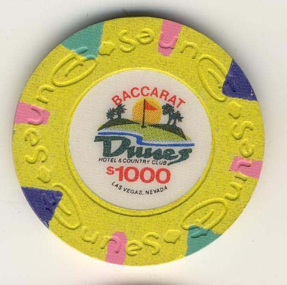 Dunes $1000 baccarat (yellow 1989) Chip