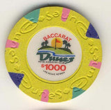 Dunes $1000 baccarat (yellow 1989) Chip - Spinettis Gaming - 1