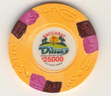 Dunes $25000 baccarat (orange 1989) Chip - Spinettis Gaming