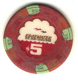 Edgewater $5 (red 1981) Chip - Spinettis Gaming - 1