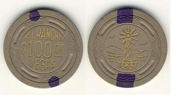 El Rancho Vegas $100 (Lg Crown) Hot stamped Chip 1948 - Spinettis Gaming - 1