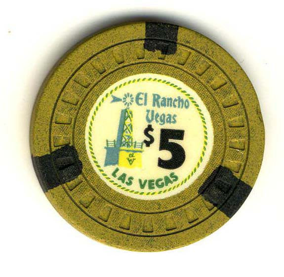El Rancho Vegas $5 (HUB mold) Chip (1960) - Spinettis Gaming - 1