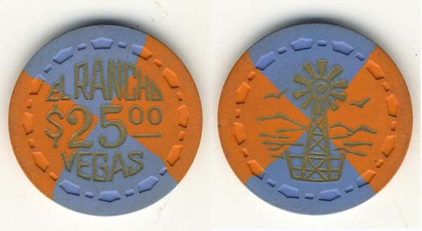 El Rancho Vegas $25 (Scrown) hot Stamped chip 1950 - Spinettis Gaming - 1