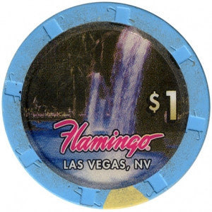 Flamingo, Las Vegas NV (Waterfall, Large Inlay) $1 Casino Chip - Spinettis Gaming