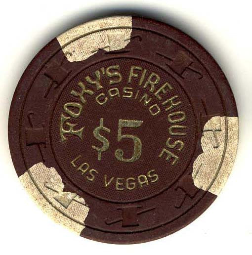 Foxy's Firehouse $5 (brown 1980s) chip