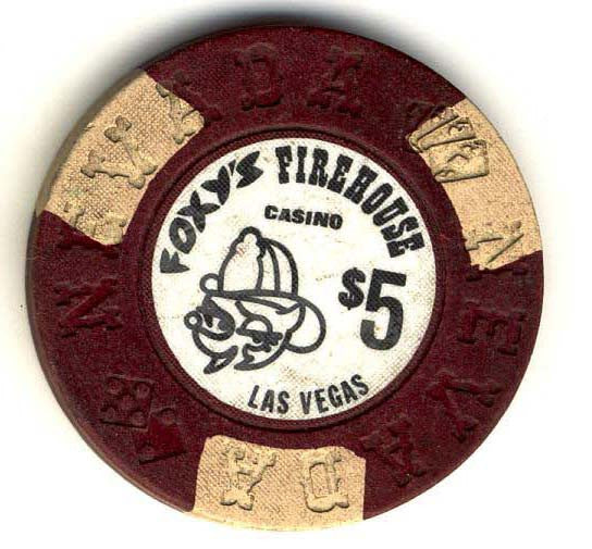 Foxys Firehouse $5 (brown/black 1976) chip - Spinettis Gaming - 1