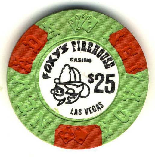 Foxys Firehouse $25 (green 1976) chip - Spinettis Gaming - 1