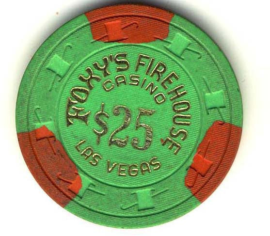 Foxys Firehouse $25 (green 1980s) chip - Spinettis Gaming - 1