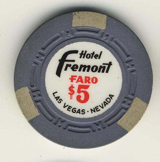 Fremont $5 (blue/gray 1960s) Faro chip - Spinettis Gaming - 1