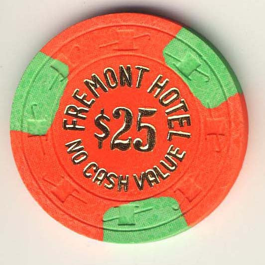 Fremont $25 (orange 1970s) chip - Spinettis Gaming - 1