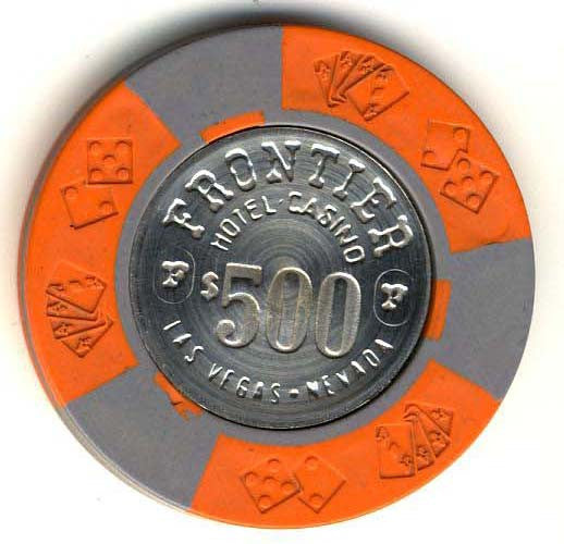 Frontier Hotel $500 (orange 1973) chip - Spinettis Gaming - 1
