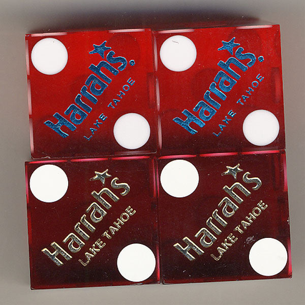 Harrah's Lake Tahoe Used Casino Red Dice, Pair - Spinettis Gaming - 1