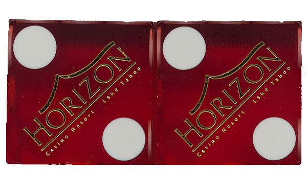 Horizon Lake Tahoe Matching Numbers Used Casino Red Dice, Pair - Spinettis Gaming - 1