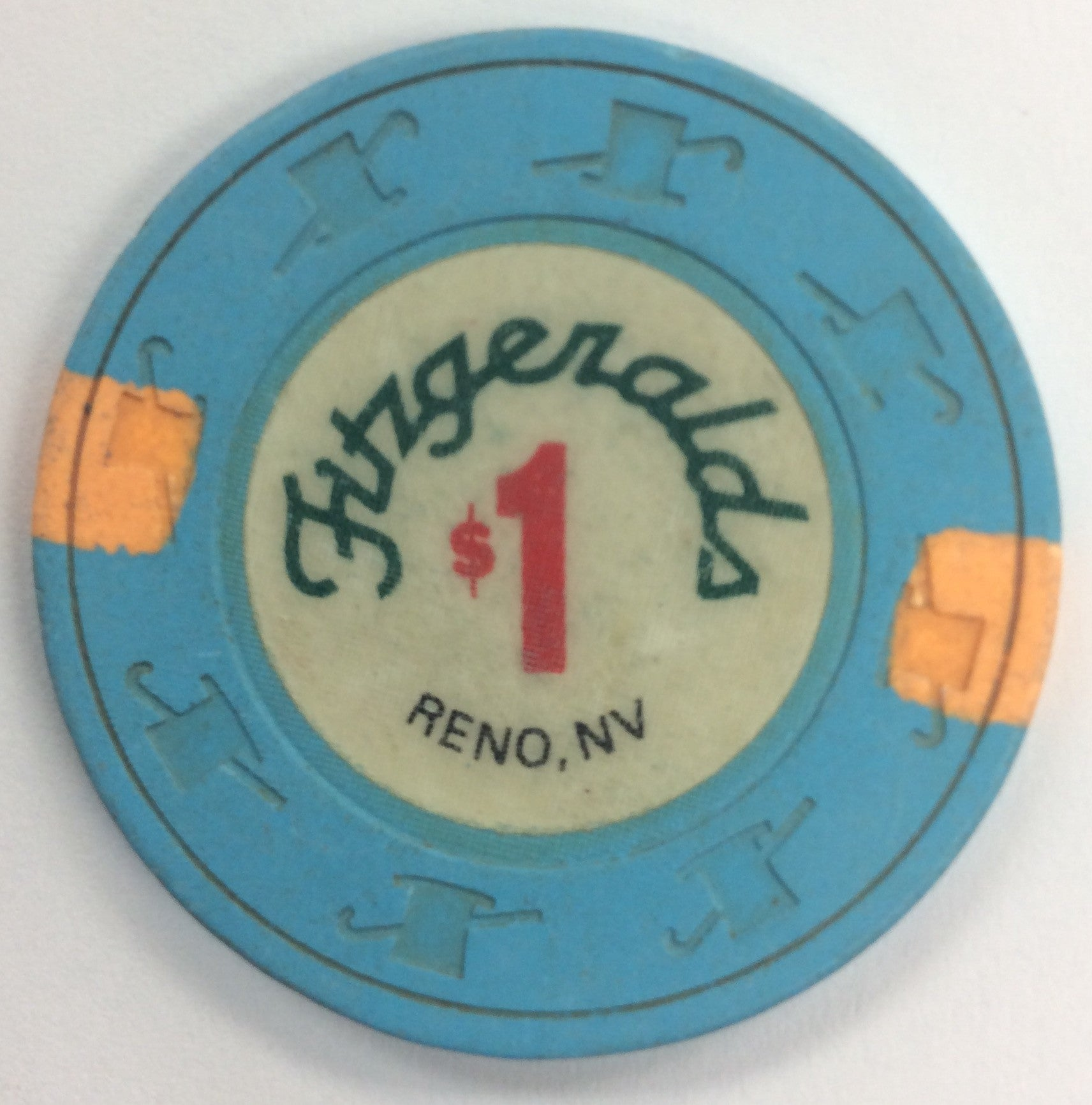Fitzgeralds Reno $1 Casino Chip 1990's Short Cane - Spinettis Gaming