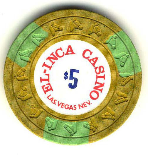 El Inca $5 (yellow 1977) Chip - Spinettis Gaming - 2