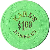 Karl's $1 (bright green) chip - Spinettis Gaming - 1