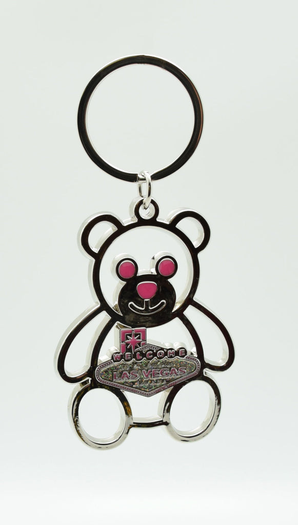 Key chain - Silver and Pink Bear with Las Vegas Sign