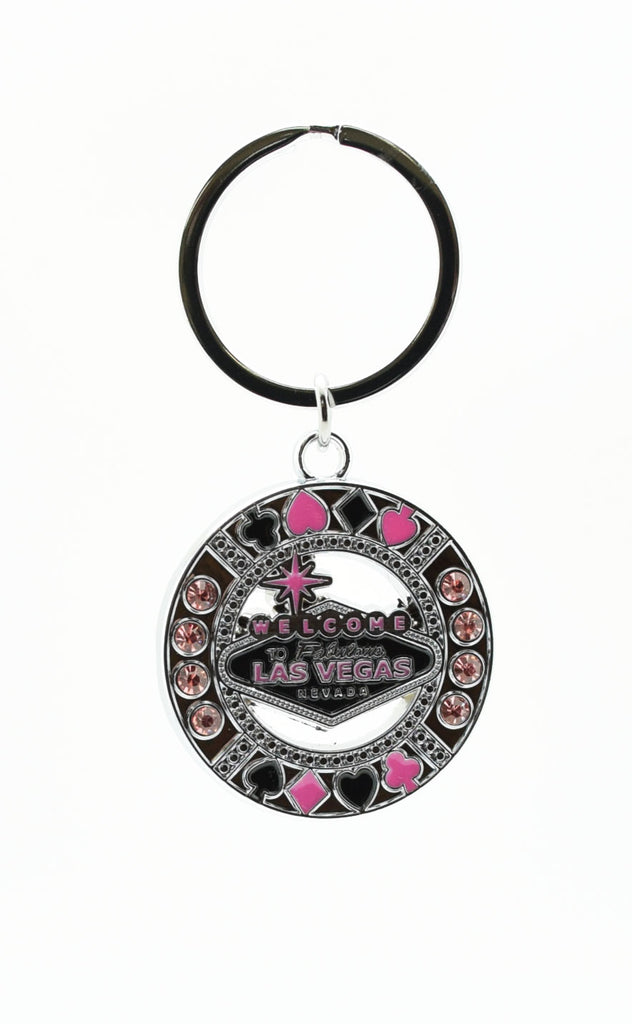 Key chain - Black & Pink Las Vegas Sign With Pink Stones