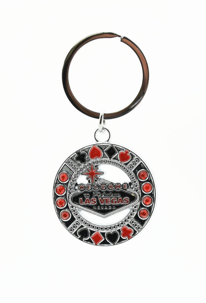 Key chain - Black & Red Las Vegas Sign With Red Stones