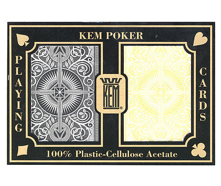 Kem Arrow Black & Gold Poker Size 2 deck setup - Spinettis Gaming