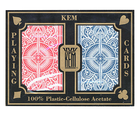 Kem Arrow Red & Blue Poker Size 2 deck setup