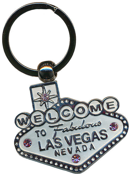 Key chain - Las Vegas Sign - Chrome With Pink stones
