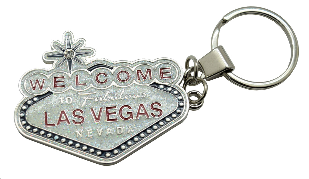 Key Chain Glitter with Las Vegas Sign - Black or Pink