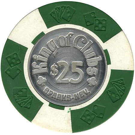 King of Clubs $25 (green) chip - Spinettis Gaming - 1