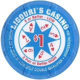 Ligouri's Casino $1 (blue) chip - Spinettis Gaming - 1
