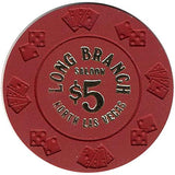 Long Branch $5 (red) chip - Spinettis Gaming - 1