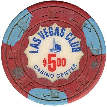 Las Vegas Club $5 (3-light blue inserts) chip - Spinettis Gaming - 1
