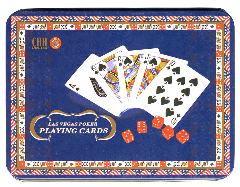 Las Vegas Poker Playing Cards with Dice in Tin Box - Spinettis Gaming - 1