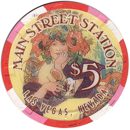 Main Street Station Casino Las Vegas NV $5 Chip 1996