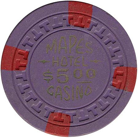 Mapes Casino Reno NV $5 Chip (Purple, 4-red inserts) Chip 1950s