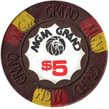 MGM Grand Casino $5 (brown) chip - Spinettis Gaming - 1