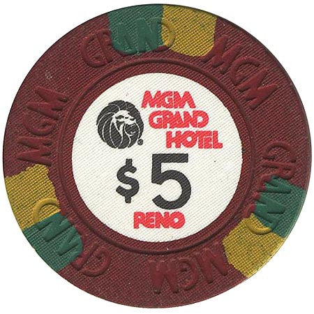 MGM Grand Casino $5 burgundy (3-yellow/green inserts) chip - Spinettis Gaming - 1