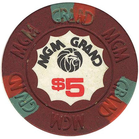MGM Grand Casino $5 (burgundy) chip - Spinettis Gaming - 1