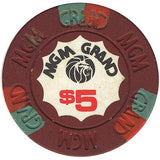 MGM Grand Casino $5 (burgundy) chip - Spinettis Gaming - 2