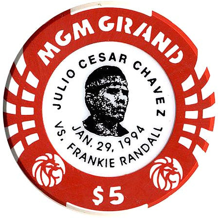 MGM Grand Casino $5 (Julio Cesar Chavez-red) chip